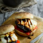 Balsamic Portobello Burger with Halloumi and Roasted Red Pepper www.thefoodiecorner.gr