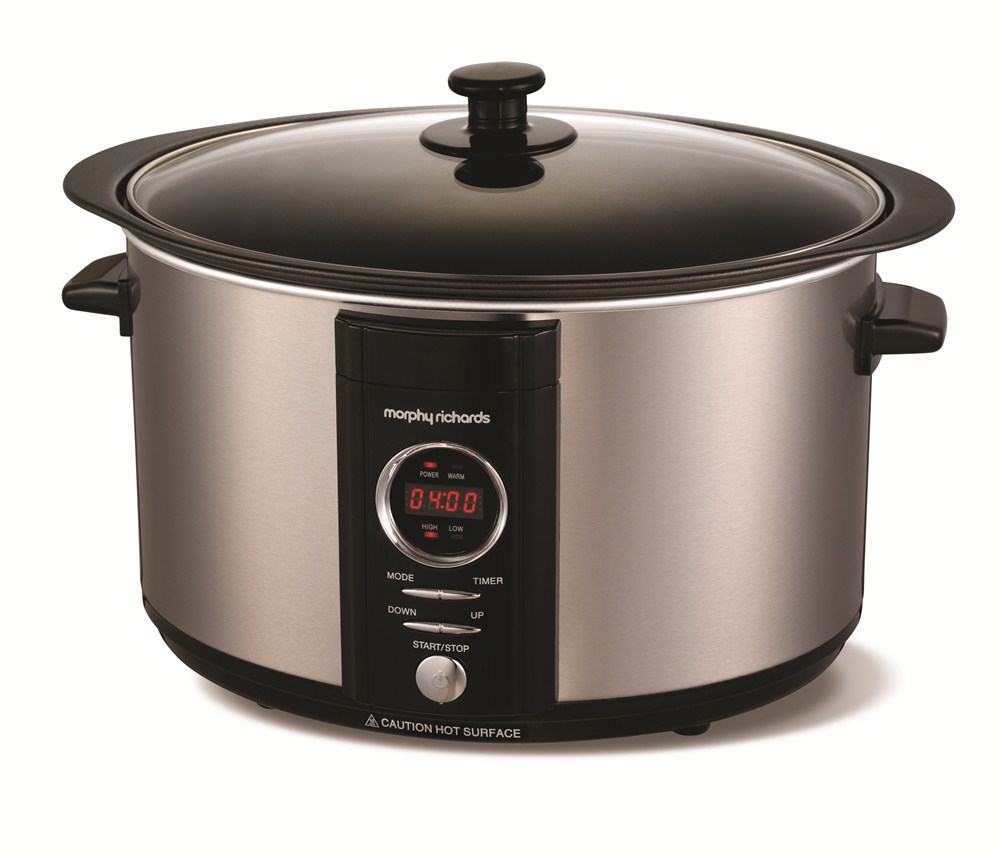 Digital slow cooker in brushed stainless steel colour