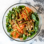 Chickpea and Quinoa Salad with Lamb's Lettuce, Asparagus, Nigella Seeds and Cumin Balsamic Dressing www.thefoodiecorner.gr