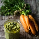 Carrot Top Greens and Almond Pesto www.thefoodiecorner.gr