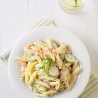 Smoked Salmon Pasta Salad with Zucchini, Cucumber and a Lemon Yogurt Dressing www.thefoodiecorner.gr