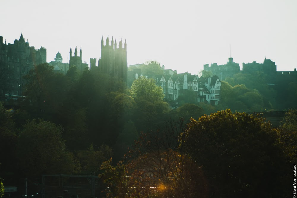 Butternut Squash Soup with Chilli and Whipped Goat's Yoghurt Feta www.thefoodiecorner.gr Photo description: A backlit view of Edinburgh old town from Princes Street through autumn trees.