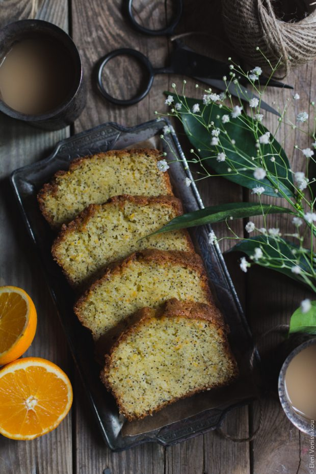 Sticky Orange Poppy Seed Olive Oil Loaf Cake
