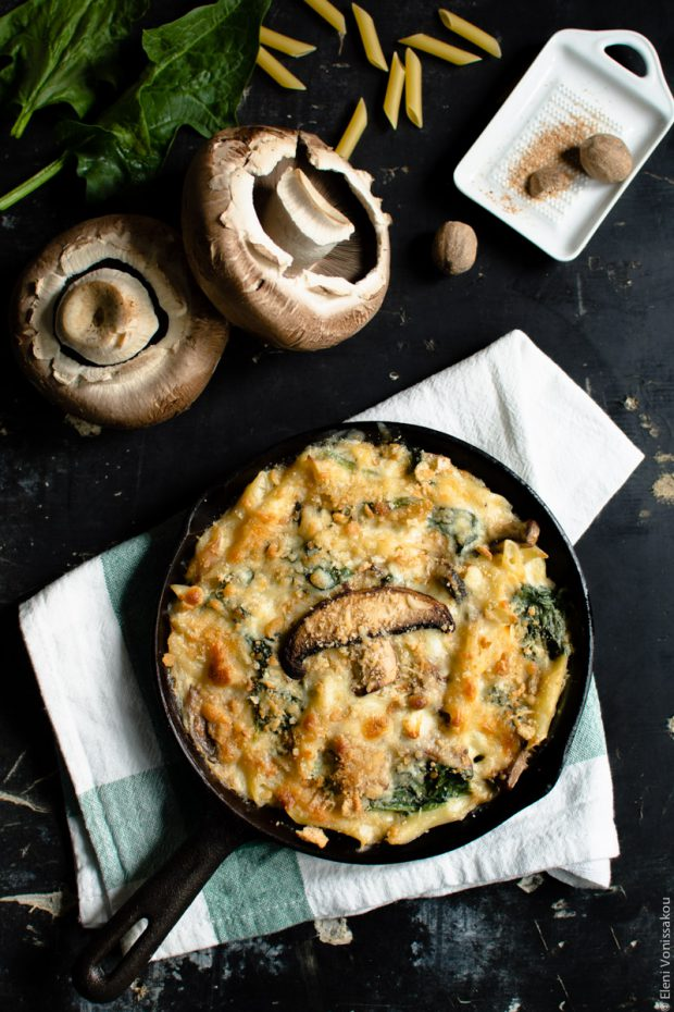 Pasta Bake with Spinach and Portobello Mushrooms in Bechamel Sauce