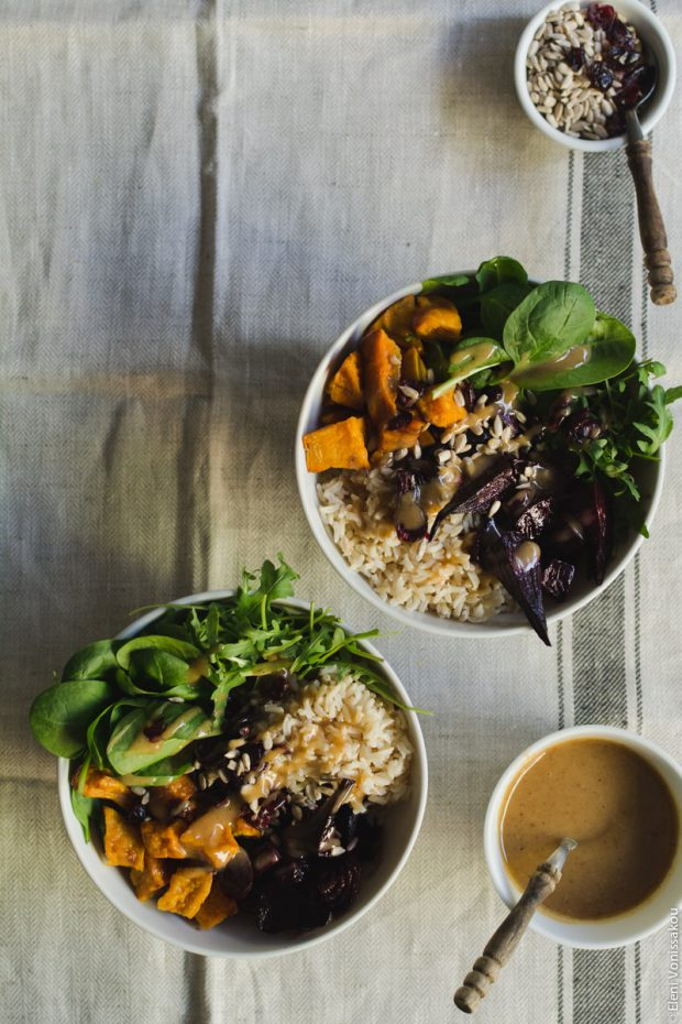 Roast Beetroot and Sweet Potato Buddha Bowl with Spicy Tahini Honey Dressing