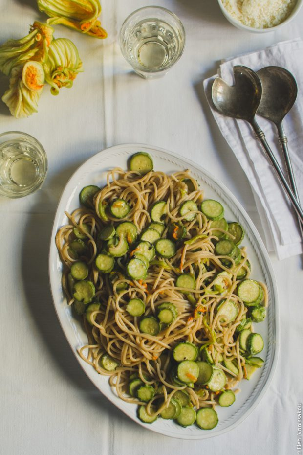 Whole Wheat Courgette Pasta with Courgette Flowers