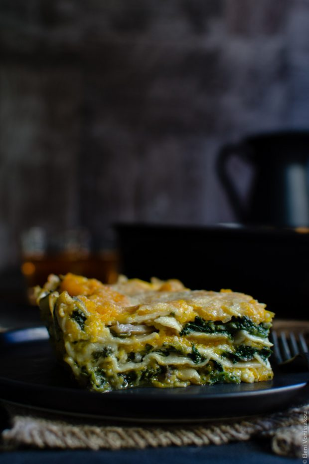 Cottage Cheese Vegetable Lasagne with Butternut Squash, Spinach and Mushrooms