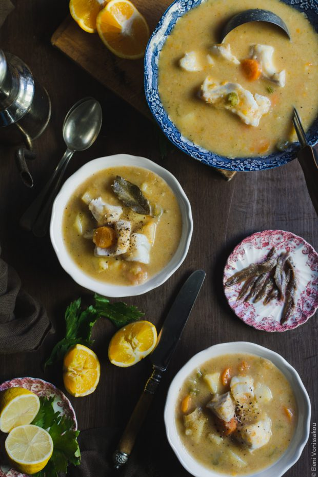 Orange and Lemon Fish Soup with Cod. My version of Greek Psarosoupa.