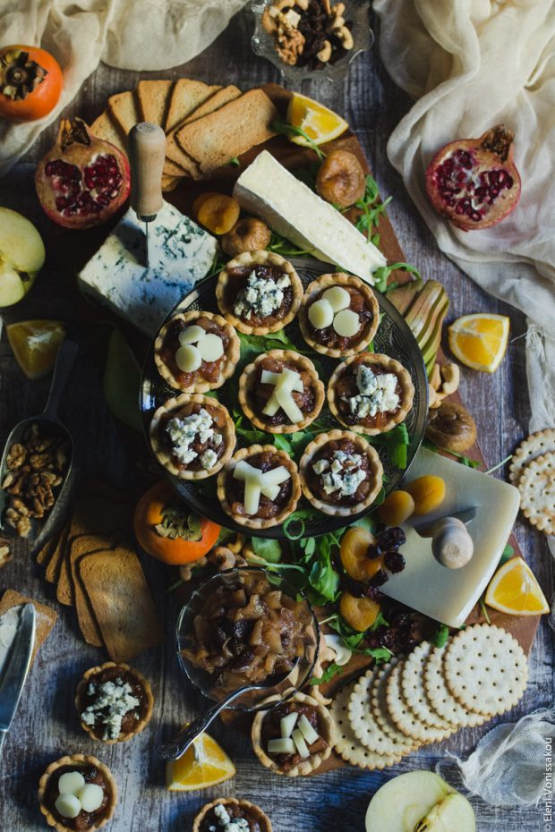 Savoury Tarts with Pear Chutney and Blue Cheese or Gruyere