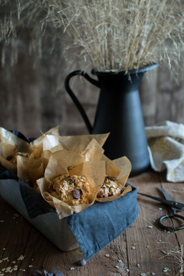 Healthy Banana Muffins with Oats, Tahini, Honey and Chocolate Chips