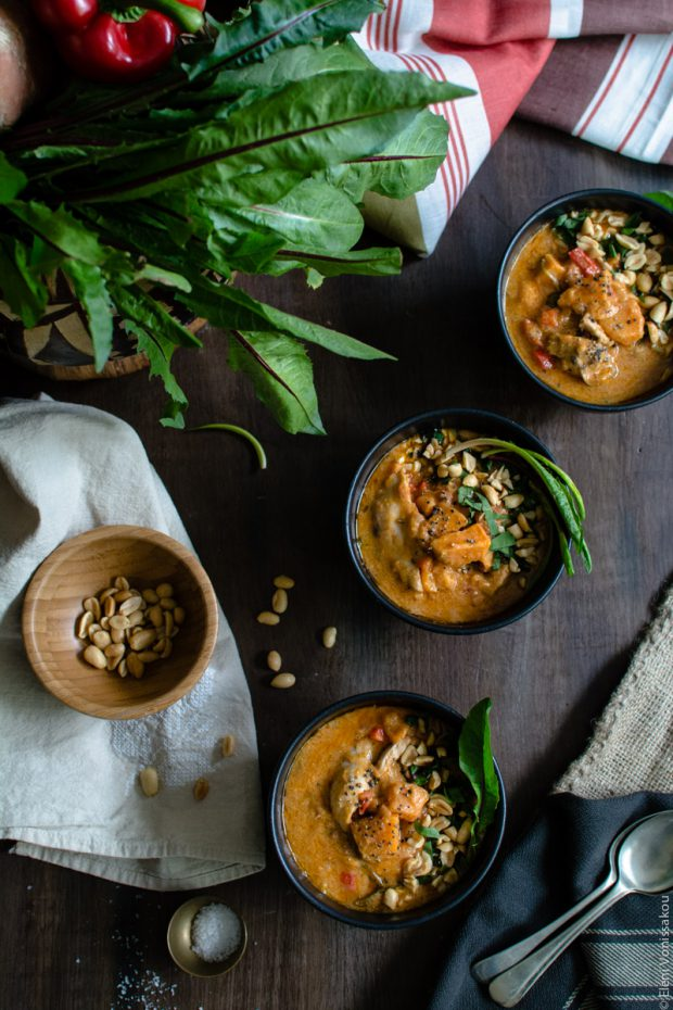 West African Inspired Chicken and Sweet Potato Soup with Peanut Butter