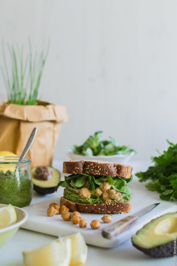 Vegan Chickpea and Tahini Sandwich with Avocado and Parsley Pesto