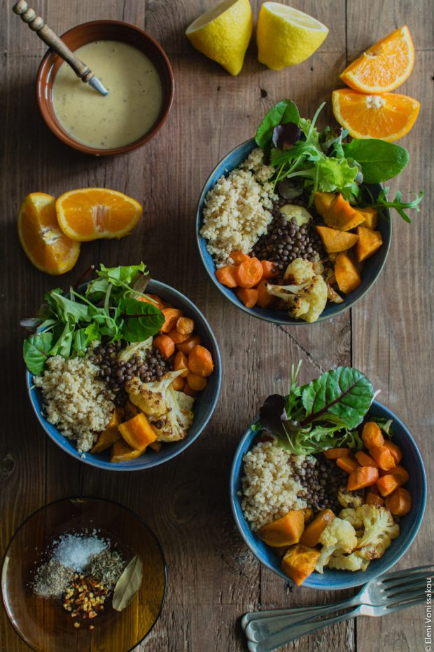 Lenten Bowls with Bulgur Wheat, Beluga Lentils, Roast Veggies and Honey Tahini Dressing