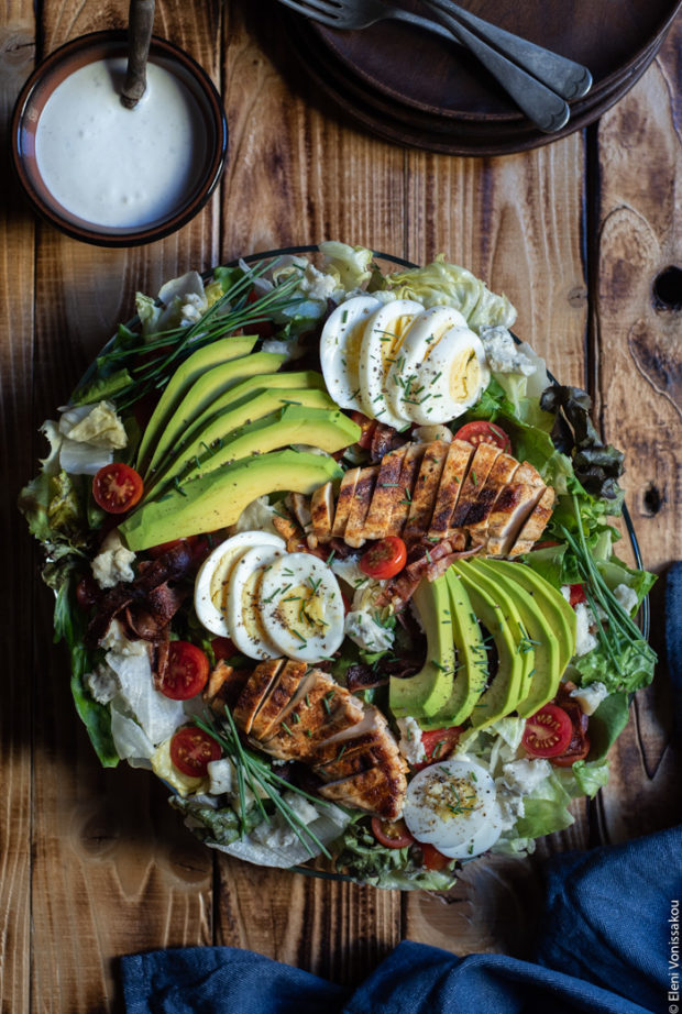 Chicken, Bacon, Avocado and Egg Salad with Gorgonzola Dressing (aka Cobb Salad)