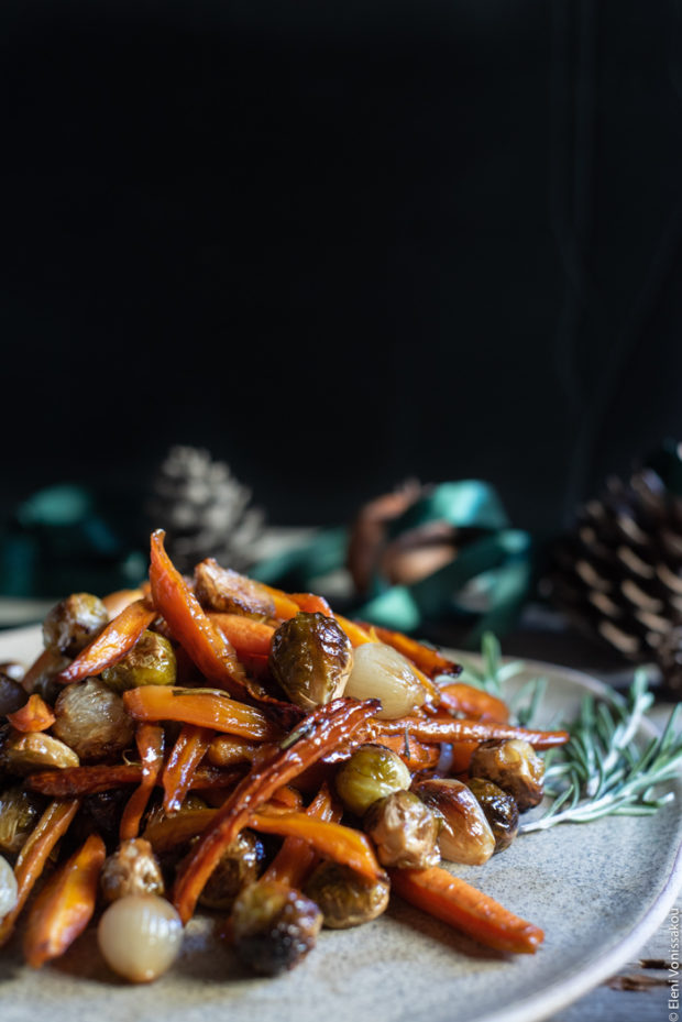 Balsamic Maple Roasted Carrots, Brussels Sprouts and Shallots (Vegan)