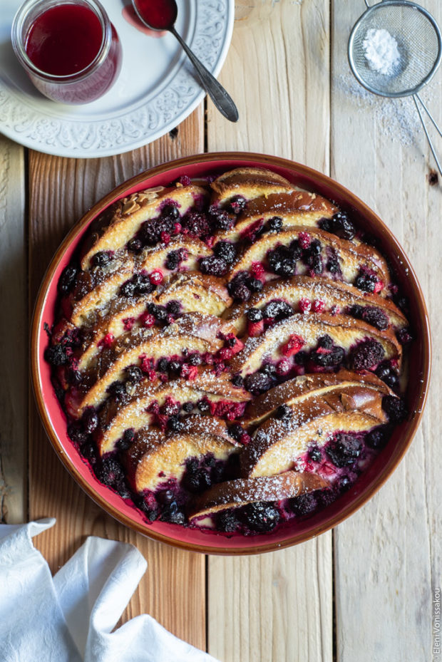 Lemon Berry Tsoureki (Greek Sweet Bread) Pudding