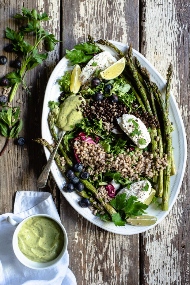 Green Salad with Buckwheat, Beluga Lentils, Roasted Asparagus and Avocado Dressing