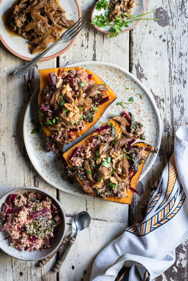 Slow Cooker BBQ Pulled Oyster Mushrooms over Beet Greens Millet and Sweet Potato