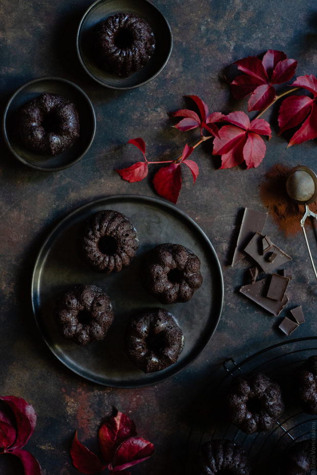 Chocolate and Beetroot Mini Bundt Cakes with a Quick Ganache (Plant Based)