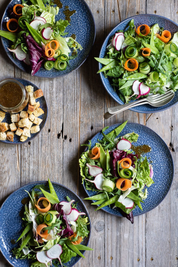 Green Salad with Cucumber, Radishes, Homemade Croutons and Grape Must Vinaigrette