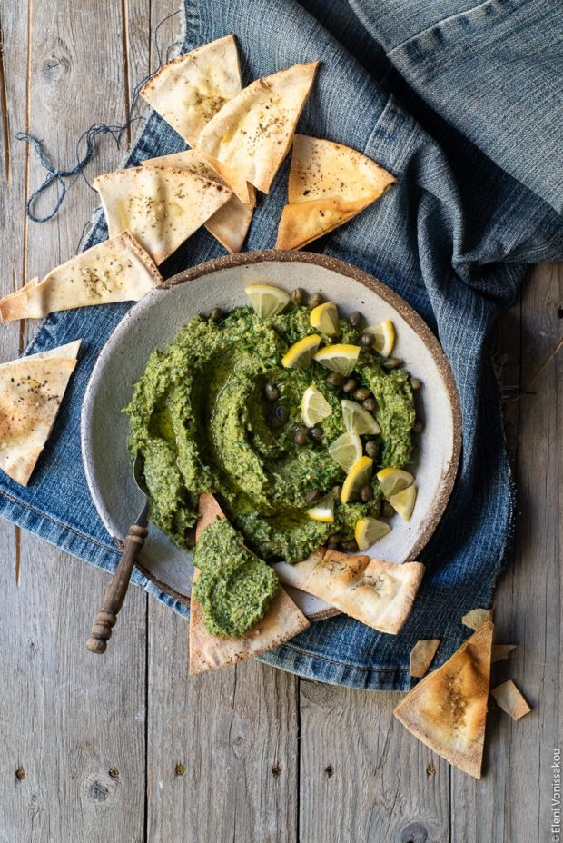 Greek Island Garlicky Parsley Dip with Easy Pitta Chips