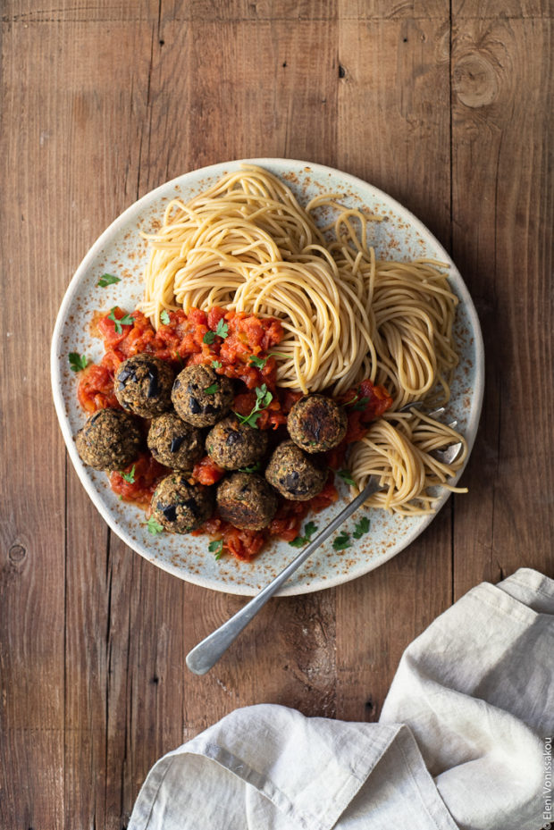 "Aubergine (Eggplant) ""Meatballs"" with Tomato Sauce and Spaghetti (Plant Based)"