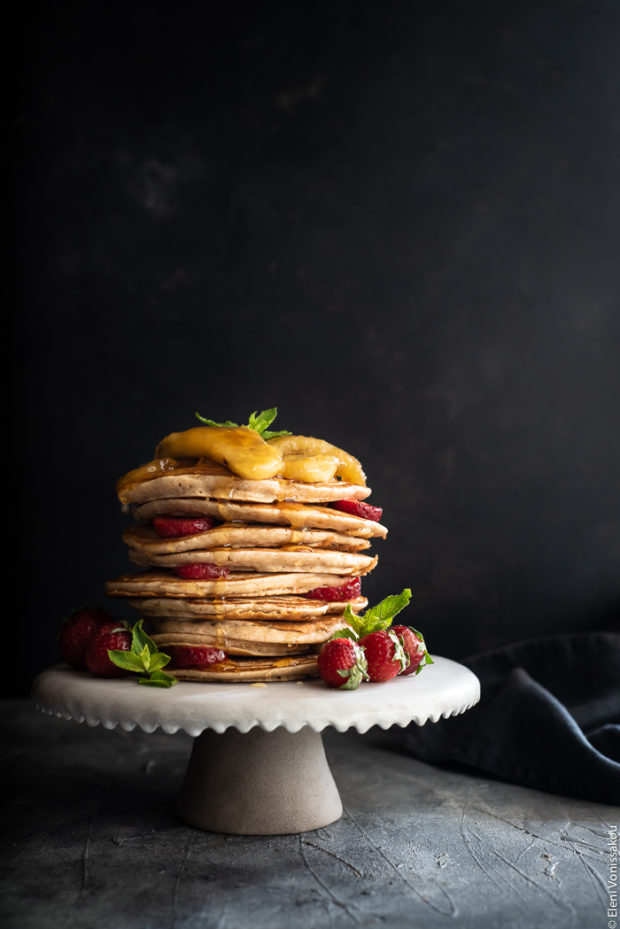 Spelt Pancakes with Honey Fried Bananas (egg and dairy free)